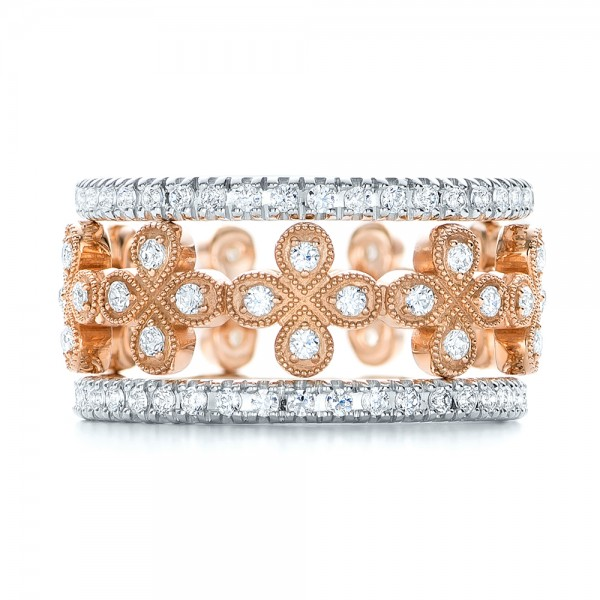 Flower Diamond Stackable Eternity Band - Top View -  101911 - Thumbnail