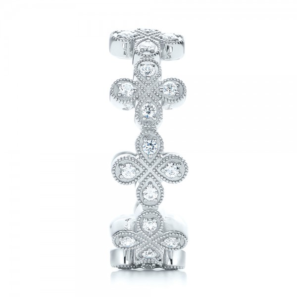 Floral Diamond Stackable Eternity Band - Side View
