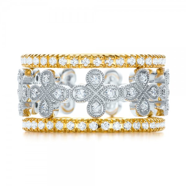 Floral Diamond Stackable Eternity Band - Top View