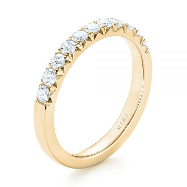 18k Yellow Gold 18k Yellow Gold French Cut Diamond Wedding Band - Three-Quarter View -  103704