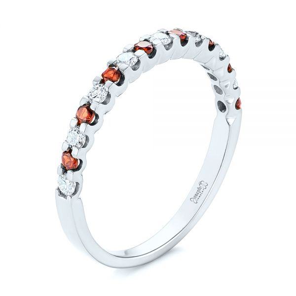 Garnet and Diamond Wedding Band - Image