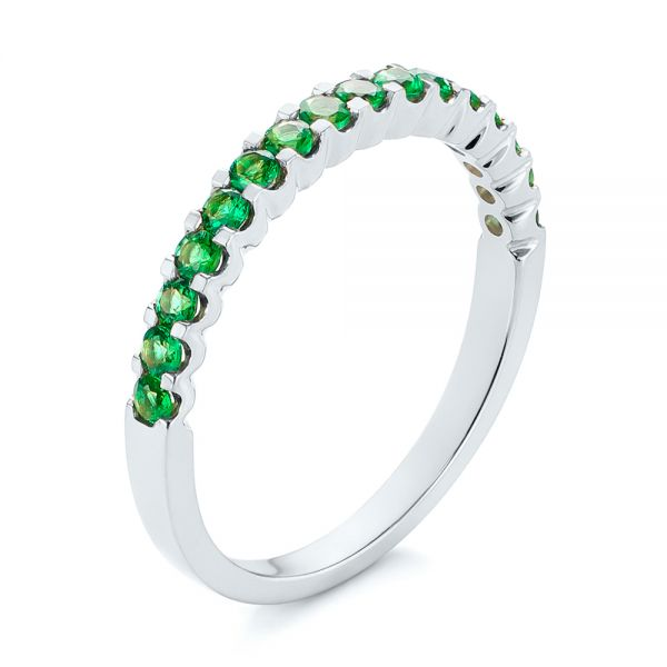 14k White Gold 14k White Gold Green Emerald Wedding Band - Three-Quarter View -  104591