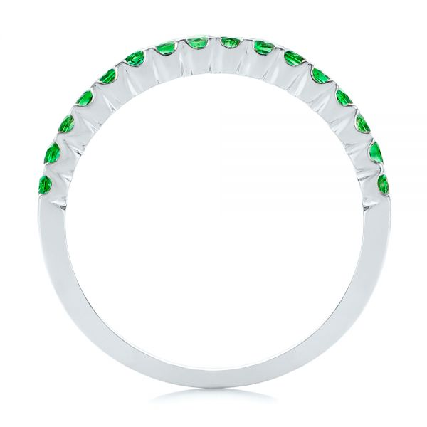 14k White Gold 14k White Gold Green Emerald Wedding Band - Front View -  104591
