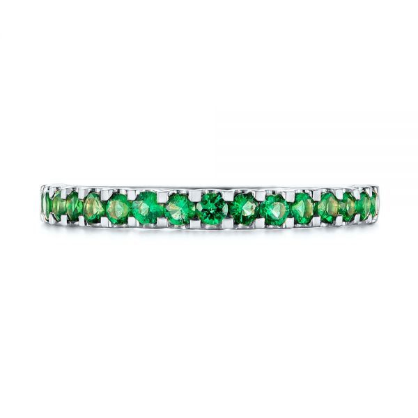14k White Gold 14k White Gold Green Emerald Wedding Band - Top View -  104591