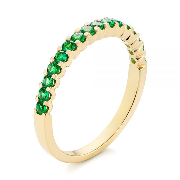 14k Yellow Gold Green Emerald Wedding Band - Three-Quarter View -  104591