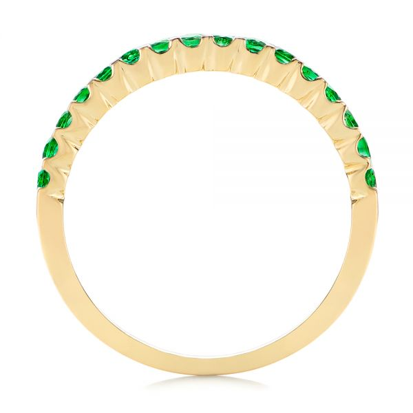 14k Yellow Gold Green Emerald Wedding Band - Front View -  104591
