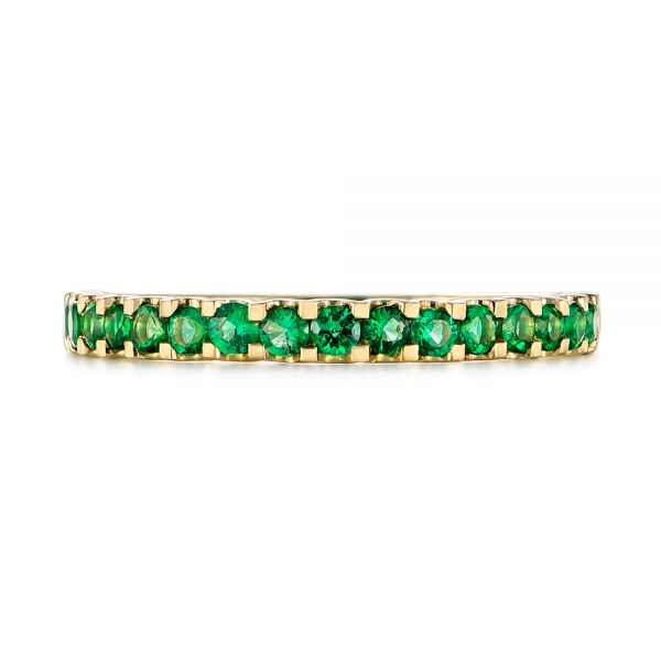 14k Yellow Gold Green Emerald Wedding Band - Top View -  104591