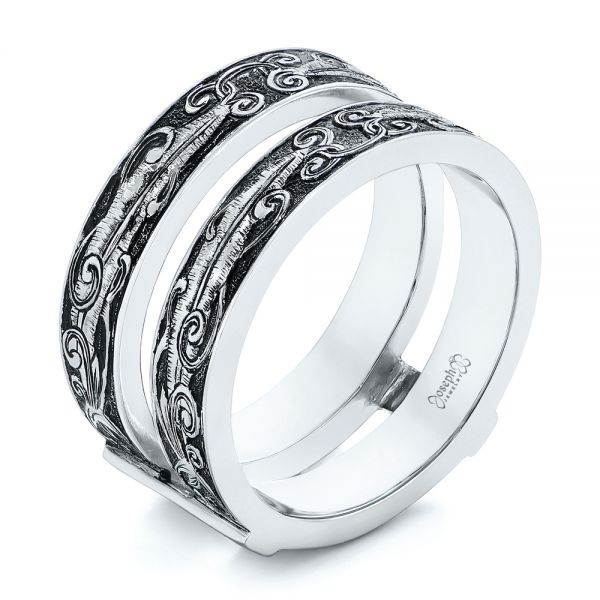 Hand Engraved Black Antiqued Jacket Wedding Band - Image