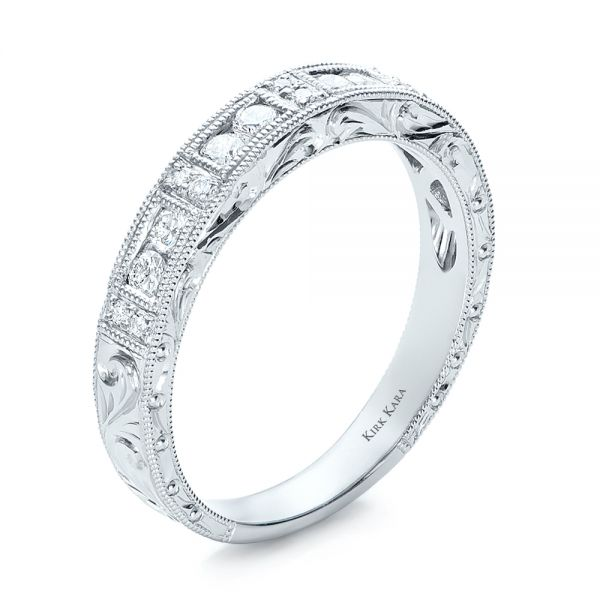 Hand Engraved Diamond Wedding Band - Kirk Kara - Three-Quarter View -  100467 - Thumbnail