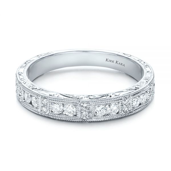 Hand Engraved Diamond Wedding Band - Kirk Kara - Flat View -  100467 - Thumbnail