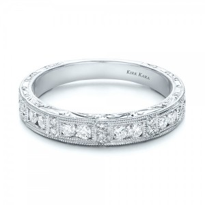 Hand Engraved Diamond Wedding Band - Kirk Kara