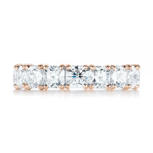 18k Rose Gold 18k Rose Gold Ideal Square Eternity Wedding Band - Top View -