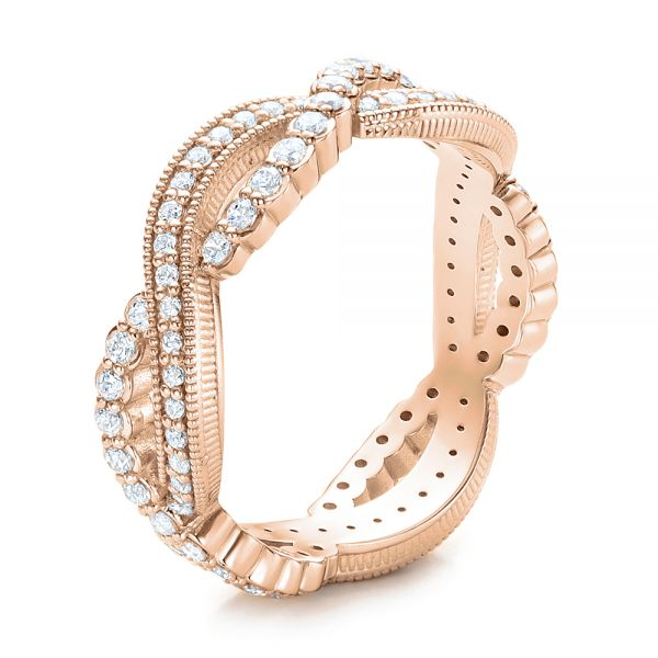 18k Rose Gold 18k Rose Gold Infinity Diamond Stackable Eternity Band - Three-Quarter View -