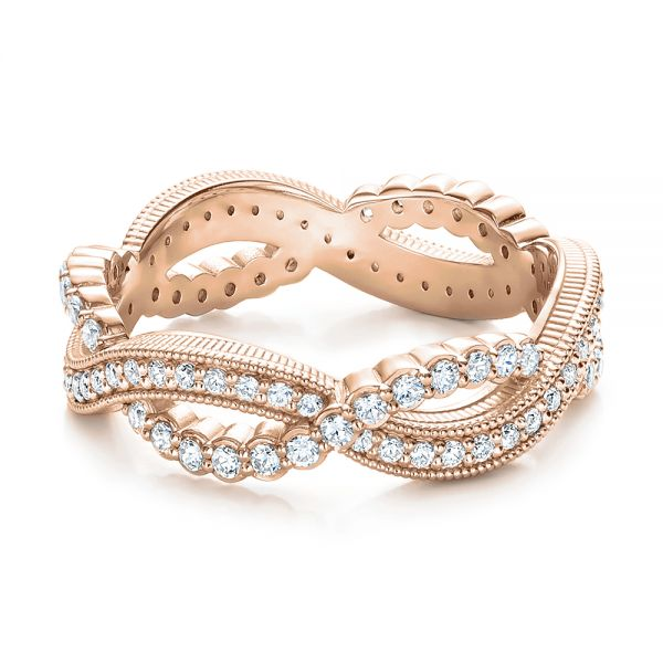 18k Rose Gold 18k Rose Gold Infinity Diamond Stackable Eternity Band - Flat View -