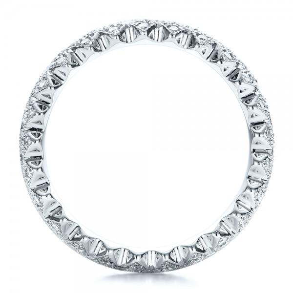 Women's Pave Diamond Wedding Band - Finger Through View