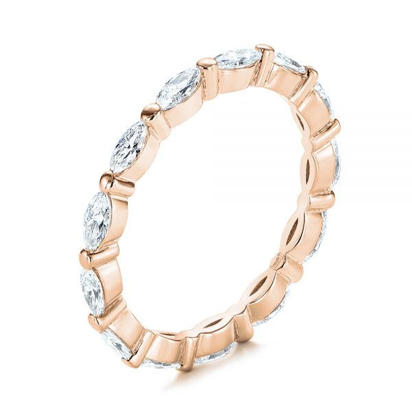 14K Rose Gold Marquise Diamond Eternity Wedding Band - Three-Quarter View -  105187 - Thumbnail