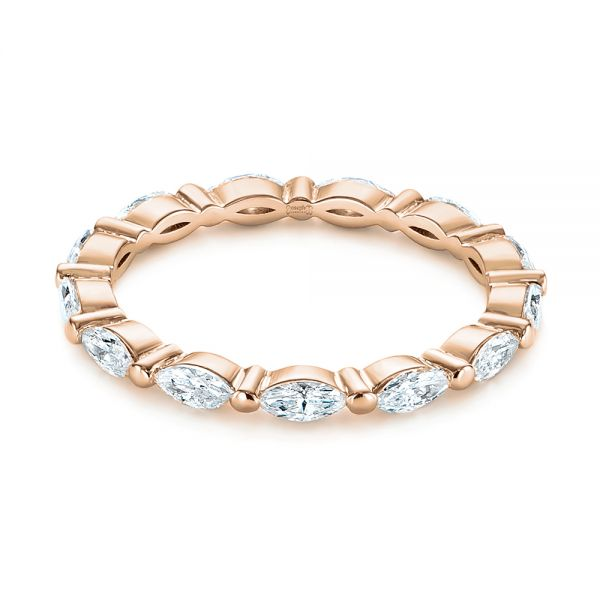 14K Rose Gold Marquise Diamond Eternity Wedding Band - Flat View -  105187 - Thumbnail