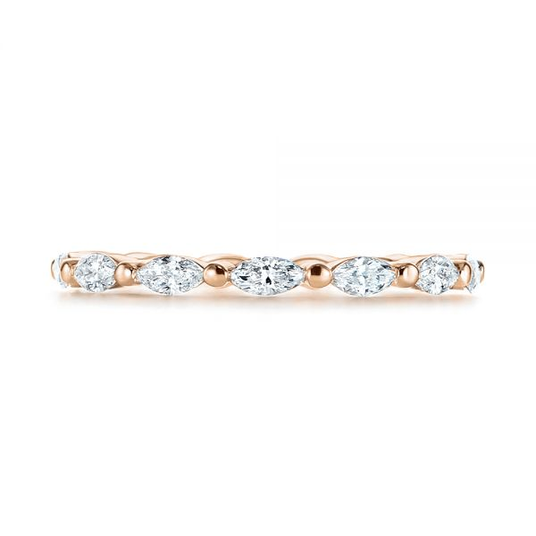 14K Rose Gold Marquise Diamond Eternity Wedding Band - Top View -  105187 - Thumbnail