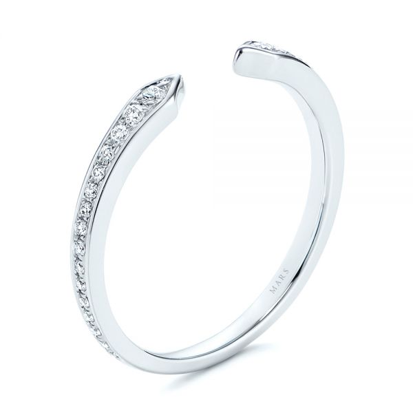 14k White Gold Open Stackable Women's Diamond Wedding Band - Three-Quarter View -  105315