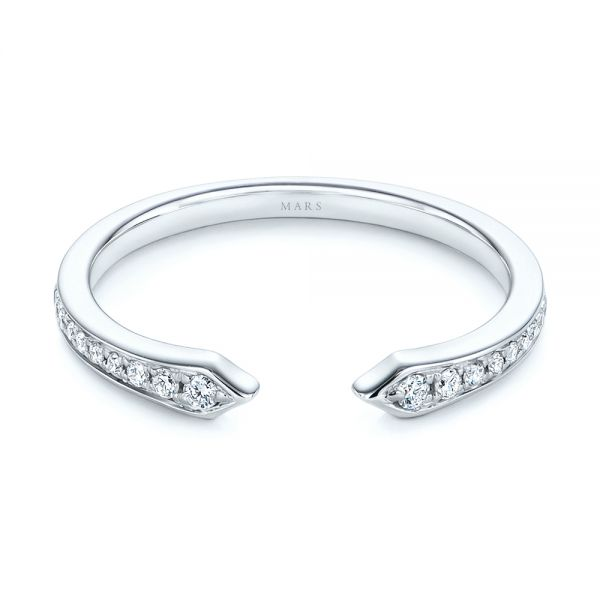 14k White Gold Open Stackable Women's Diamond Wedding Band - Flat View -  105315 - Thumbnail