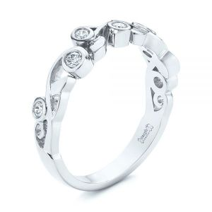 Organic Bezel Diamond Wedding Band - Image