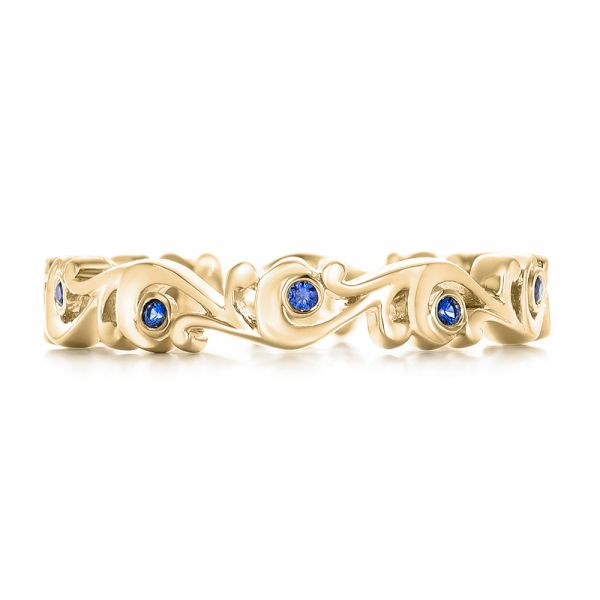 14k Yellow Gold 14k Yellow Gold Organic Blue Sapphire Wedding Band - Top View -