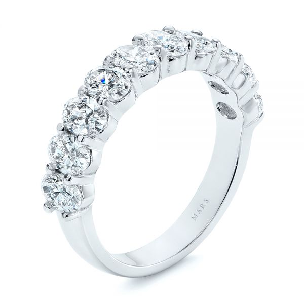 18k White Gold Oval Diamond Half Eternity Wedding Band - Three-Quarter View -
