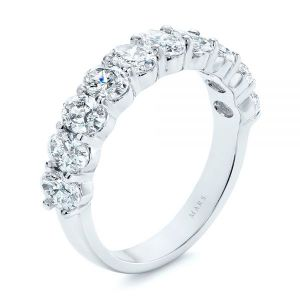 Oval Diamond Half Eternity Wedding Band - Image