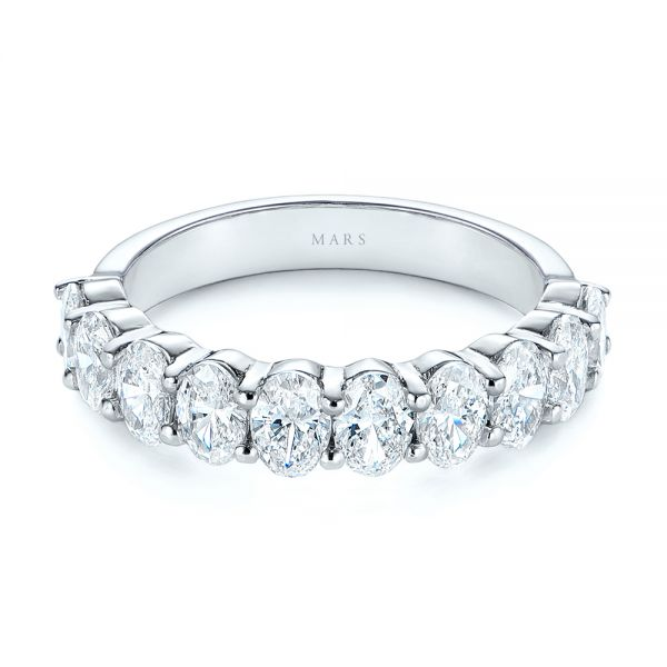 18k White Gold Oval Diamond Half Eternity Wedding Band - Flat View -  105318 - Thumbnail