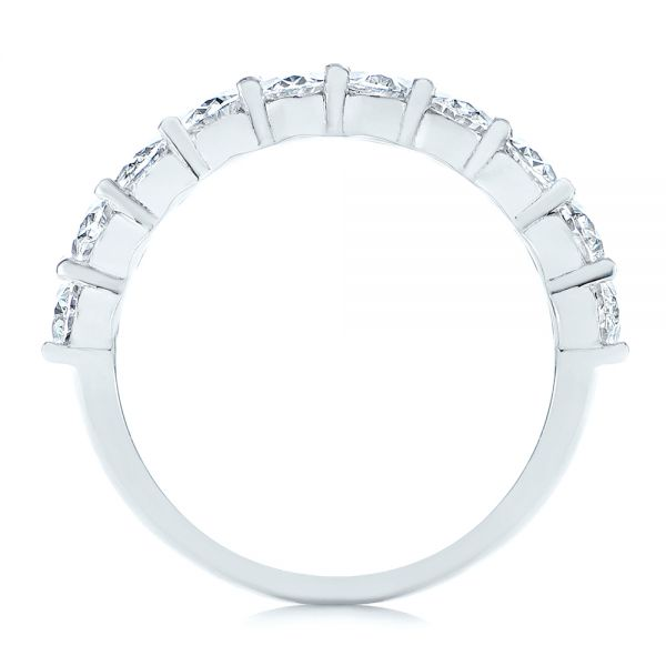18k White Gold Oval Diamond Half Eternity Wedding Band - Front View -  105318 - Thumbnail