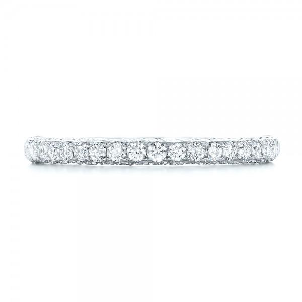 Pave Diamond Hand Engraved Wedding Band - Top View