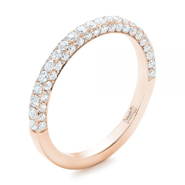 18k Rose Gold 18k Rose Gold Pave Diamond Wedding Band - Three-Quarter View -  102559