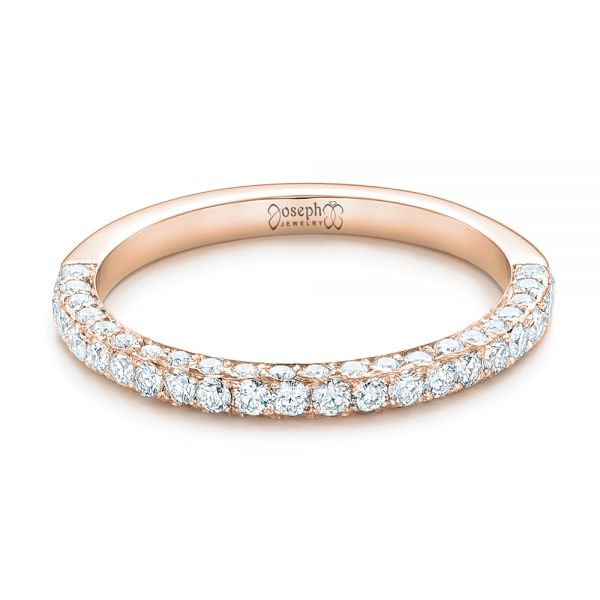 18k Rose Gold 18k Rose Gold Pave Diamond Wedding Band - Flat View -  102559