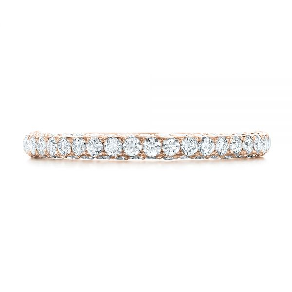 18k Rose Gold 18k Rose Gold Pave Diamond Wedding Band - Top View -  102559