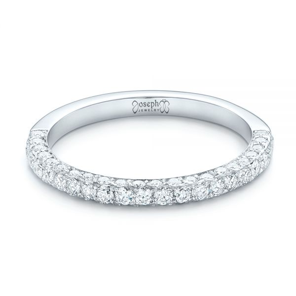 18k White Gold 18k White Gold Pave Diamond Wedding Band - Flat View -  102559