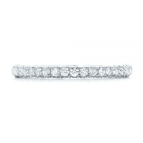 18k White Gold 18k White Gold Pave Diamond Wedding Band - Top View -  102559