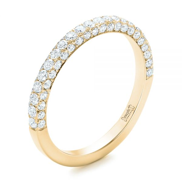 14k Yellow Gold 14k Yellow Gold Pave Diamond Wedding Band - Three-Quarter View -  102559
