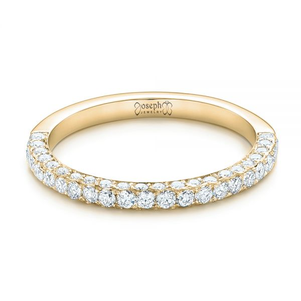 14k Yellow Gold 14k Yellow Gold Pave Diamond Wedding Band - Flat View -  102559