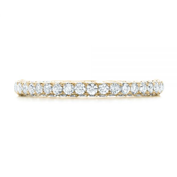 14k Yellow Gold 14k Yellow Gold Pave Diamond Wedding Band - Top View -  102559