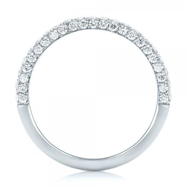 Pave Diamond Wedding Band - Finger Through View