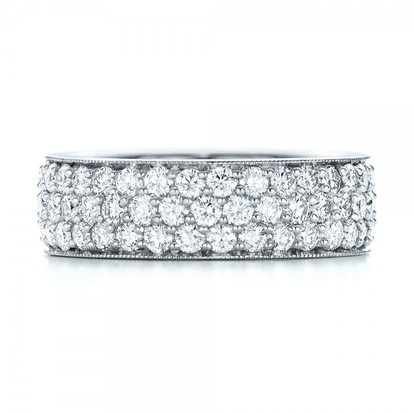 Pave Diamond Women's Anniversary Band - Top View