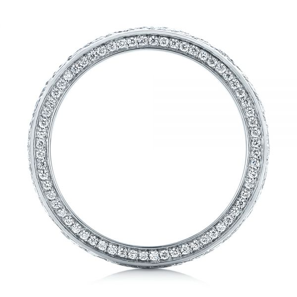 18k White Gold Pave Diamond Women's Anniversary Band - Front View -  104157