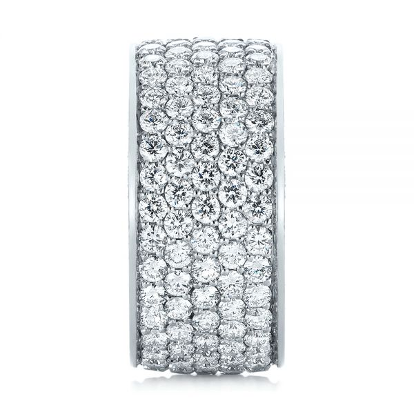 18k White Gold Pave Diamond Women's Anniversary Band - Side View -  104157