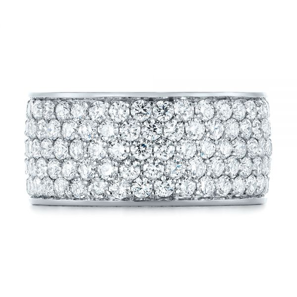18k White Gold Pave Diamond Women's Anniversary Band - Top View -  104157