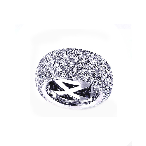 Pave Diamond Women's Eternity Band - 3/4 View