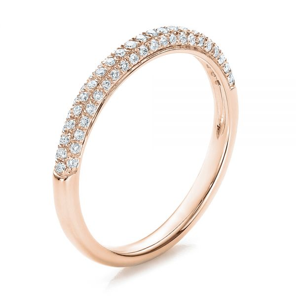 14k Rose Gold 14k Rose Gold Pave Set Diamond Wedding Band - Three-Quarter View -  100407