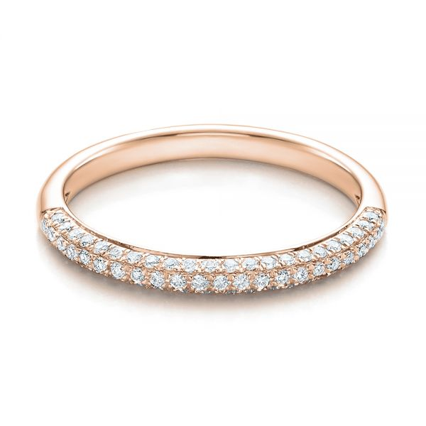 14k Rose Gold 14k Rose Gold Pave Set Diamond Wedding Band - Flat View -  100407