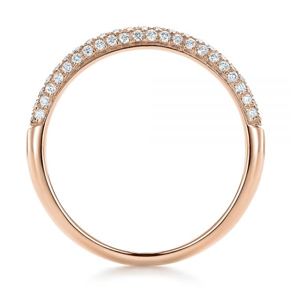 14k Rose Gold 14k Rose Gold Pave Set Diamond Wedding Band - Front View -  100407