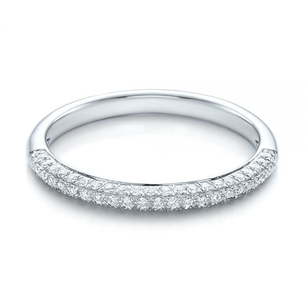 14k White Gold Pave Set Diamond Wedding Band - Flat View -
