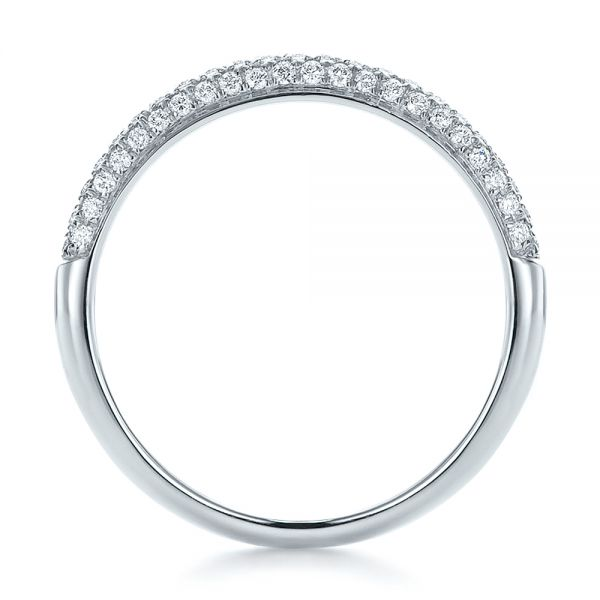 14k White Gold Pave Set Diamond Wedding Band - Front View -